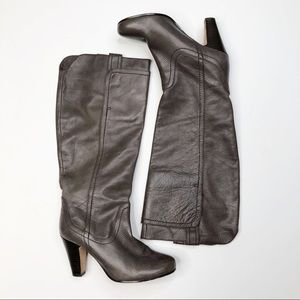 Dolce Vita Gray Tall Leather Heeled Boots
